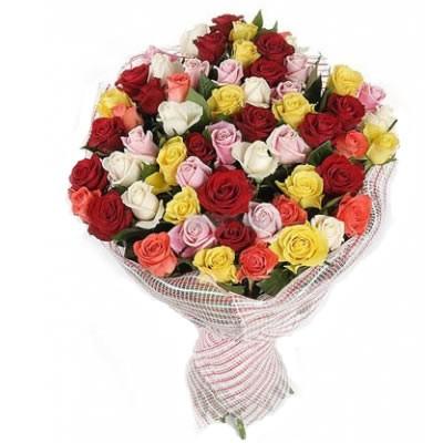 Букет из 51 разноцветной розы «Шуры-муры»