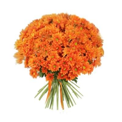 Букет из 21 хризантемы «Оранжевое облако»