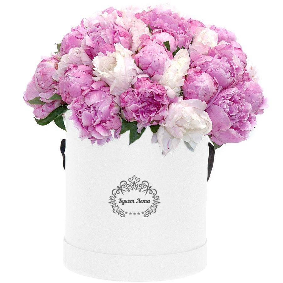 Цветы в шляпной коробке с 35 розовыми и белыми пионами «Цвета нежности»