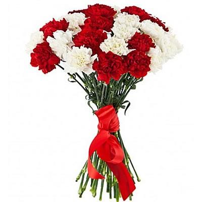 Букет из 25 красных и белых гвоздик «Любимая Родина»