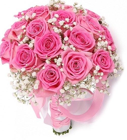 Букет невесты из 21 розовой розы Аква и гипсофилы «Розовая свадьба»