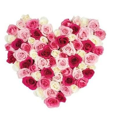 Цветочная композиция из 75 разноцветных роз «Радужное сердце»