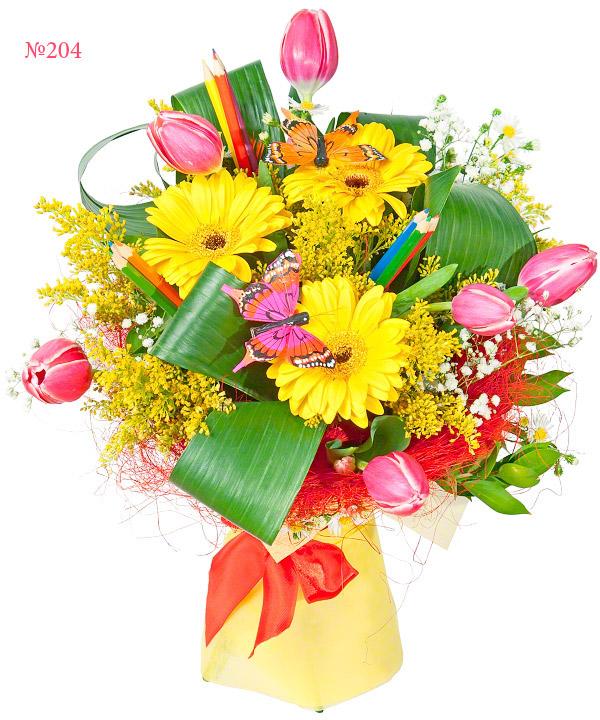 Букет из тюльпанов, гербер, ромашек и карандашей «Классный час»