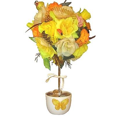 Композиция из искусственных цветов и фруктов «Золотое древо»