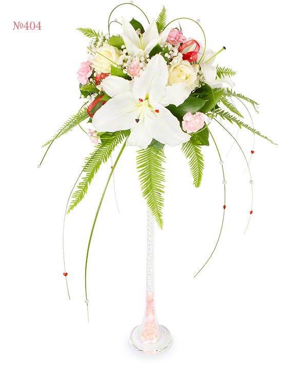 Цветочная композиция из лилий, роз, кустовых гвоздик и зелени «Королевский бал»