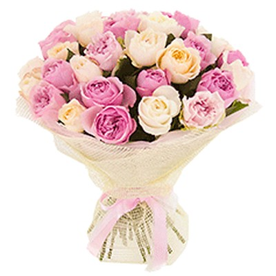 Букет из 29 пионовидных роз «Хроники нежности»