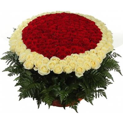 Корзина цветов с 201 розой и папоротником «Неземная любовь»