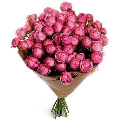 Букет из 29 кустовых пионовидных роз «Малиновое облако»